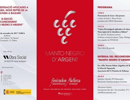 """La DO Binissalem convoca hoy 15 de noviembre la 3ª edición de reconocimiento """"MANTO NEGRO D'ARGENT"""""""