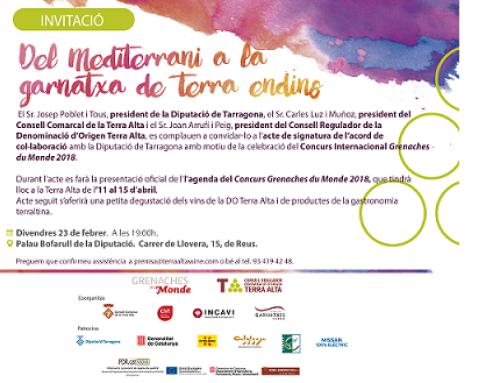 La Pequeña DO Terra Alta y la Diputación de Tarragona firman un acuerdo de colaboración para el Concurso Garnachas del Mundo