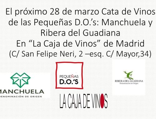 """Las Pequeñas D.O.'s Manchuela y Ribera del Guadiana se presentan en """"La Caja de Vinos"""" el próximo día 28"""
