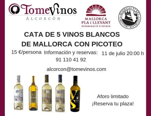Cata de 5 blancos de Bodegas Vi Rei (Pequeña DO Pla i Llevant) en la vinoteca Tome Vinos de Alcorcón