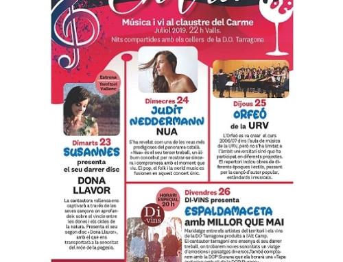 Los vinos de la Pequeña DO Tarragona acompañan este verano diversas propuestas musicales singulares en Valls y Reus