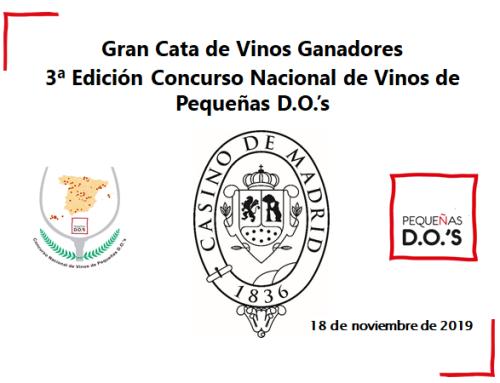 El próximo lunes 18 de noviembre, el Casino de Madrid acogerá una cata con los vinos ganadores de la 3ª edición del Concurso Nacional de vinos de Pequeñas D.O.'s