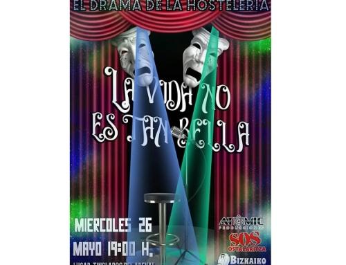 La Pequeña DO Txakolí de Bizkaia se solidariza con la hostelería en un acto junto al Ayuntamiento de Bilbao