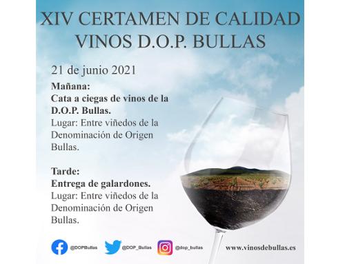 La Pequeña D.O. Bullas celebrará su XIV Certamen de Calidad de Vinos D.O.P. Bullas el próximo 21 de junio de 2021